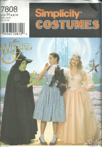 Wizard Of Oz Costumes Patterns (Simplicity 7808H Sewing Pattern Misses Wizard Of Oz Costume Size 6-10)