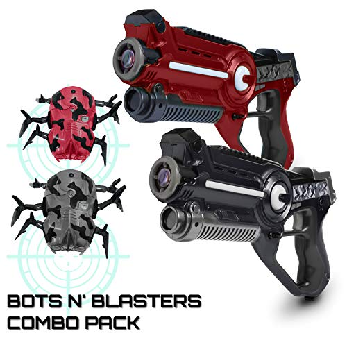 USA Toyz Laser Tag Multiplayer Games – Space Blaster Class 1 Laser Tag Gun Set, Laser Tag Guns w/ Less Than 1mW Output, Lazer Tag for Kids w/ Target Practice Bots (2pk Black/Red)