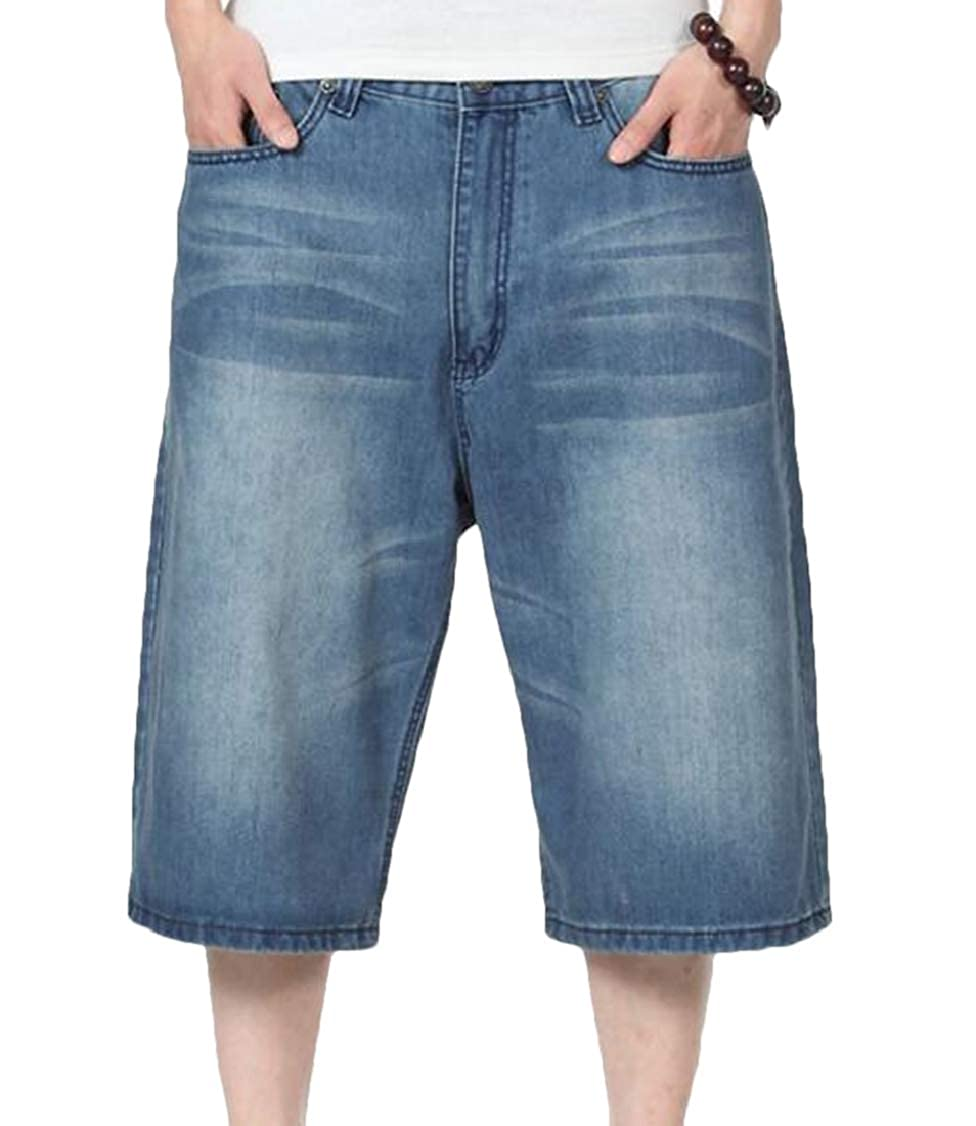 S-Fly Men Plus Size Washed Denim Loose Hip Hop Relaxed Fit Capri Shorts