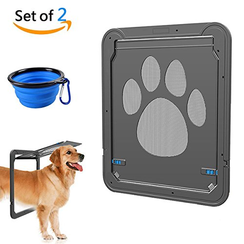 CATOOP Dog Screen Door, Pet Screen Door Protector for Sliding Door, Automatic Set of 2 Lock/Lockable