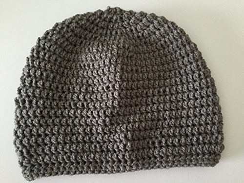 Crochet beanie hat in grey size adult large