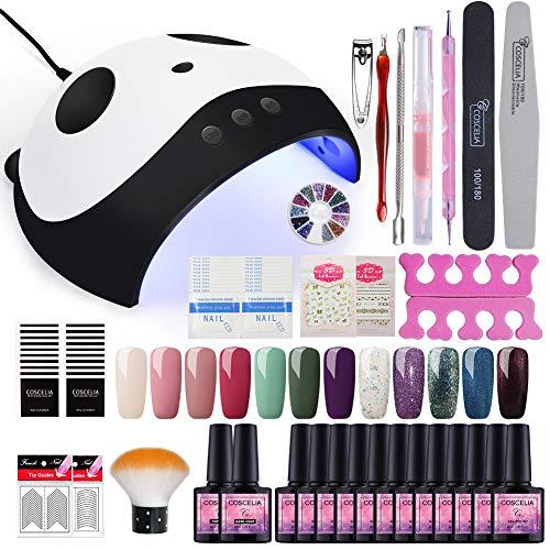 Fashion Zone 12 Colors Gel Nail Polish Starter Kit 36W Nail Lamp Dryer UV LED Soak Of Gel Polish Base Top Coat Nail Art Professional Tool Set Starter Kit
