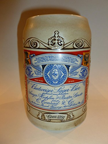 (Antique Budweiser Label Stein)