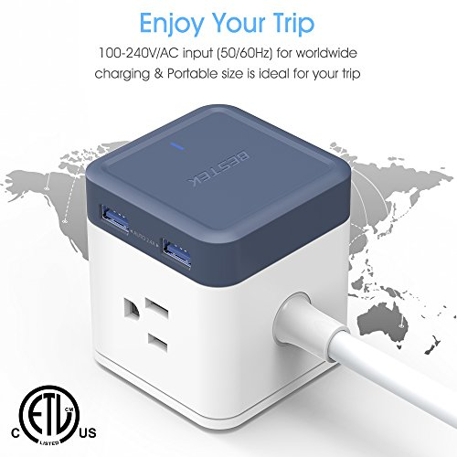 BESTEK USB Power Strip Travel Cube 3-Outlet and 4 USB Charging Station with Mountable Detachable Base, 5 Feet Extension Cord,Flat Plug,1875W,ETL Listed,Dorm Room Accessories by BESTEK (Image #2)