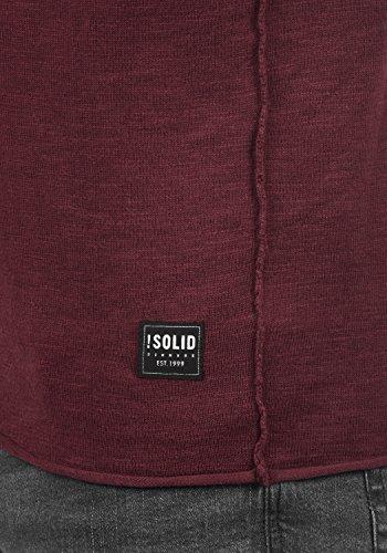 Con Suéter 0985 Punto 100 Wine Krimmich Para De solid Algodón Red Hombre Jersey Cuello Redondo q0fwanR