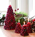 "Tag 7.5"" x 4"" Large Cranberry Tree Christmas Candle"