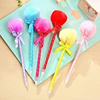 Chic 4Pcs Student Prizes Creative Pen Balls Plush Ballpoint Pen School Supplies