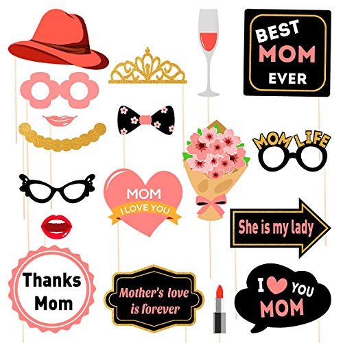 (Amosfun Mother's Day Photo Booth Props Mother's Birthday Photo Booth Props I Love You Best Mom Ever 2019 Mother's Day Party Decoration Supplies 18 Pcs)