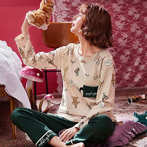 FERFERFERWON Nachthemd Baumwollpyjamas der Herbst- und Winterfrauen langärmelige Hosen beiläufige Mädchen können Dienstanzüge tragen (Größe  L)