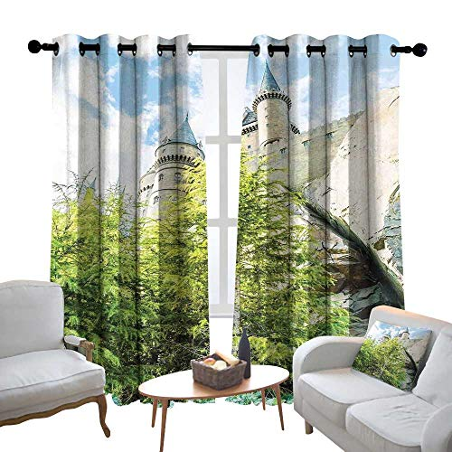 Lewis Coleridge Window Curtain Fabric Wizard,Witchcraft School and Wizard Castle in Woods Replica in Japan Picture Print,Green Blue Beige,Rod Pocket Curtain Panels for Bedroom & Living Room 84
