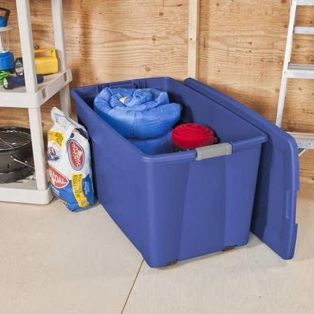 Sterilite 45 Gallon Wheeled Latch Tote- Stadium Blue, Case of four