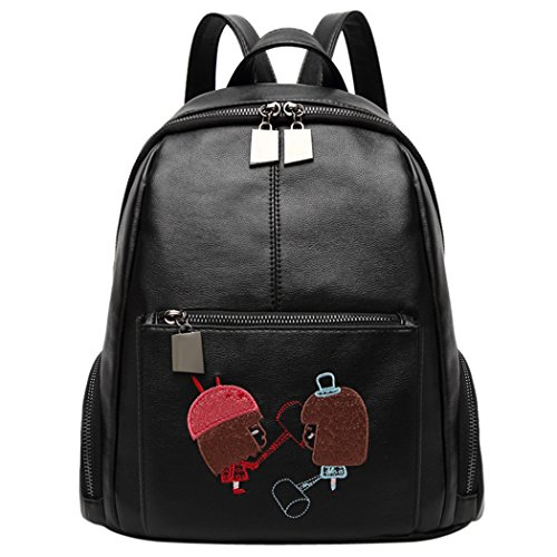 Fanspack Women's PU Leather Backpack Embroidered Girls Black School Backpack Travel Rucksack Black Embroidered Leather Backpack