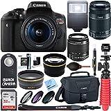 Canon EOS Rebel T6i Digital SLR Camera Wifi + 18-55mm IS STM & 55-250mm IS II Lens Kit + Accessory Bundle 64GB SDXC Memory + DSLR Photo Bag + Wide Angle Lens + 2x Telephoto Lens +Flash+Remote+Tripod