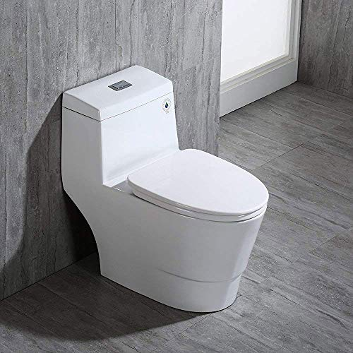 WOODBRIDGE T-0019, Dual Flush Elongated One Piece Toilet with Soft Closing Seat, Comfort Height, Water Sense, High-Efficiency, Rectangle Button, Cotton White, 28.5 x 14.5 x 27 inches