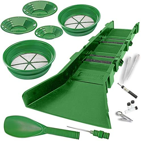 Sluice Fox Gold Panning Supplies Kit with Sluice Box
