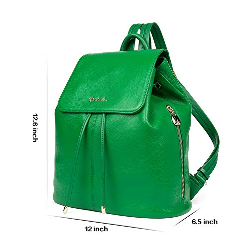 Darkgreen Leather College Purse Backpack Casual Shoulder Ladies Handbags Bag Bostanten Newblue Women School Rucksack O50qqgw