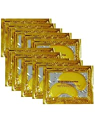 10 Pairs New Crystal 24K Gold Powder Gel Collagen Eye Mask Masks Sheet Patch, Anti Aging,Dark Circles and Puffiness, Anti Wrinkle, Moisturising,Whitening, Remove Blemishes and Blackheads by Klicnow