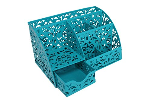Office Desktop Organizer 5 Compartments Desk Accessories Caddy with Drawer, Teal by Noe&Malu