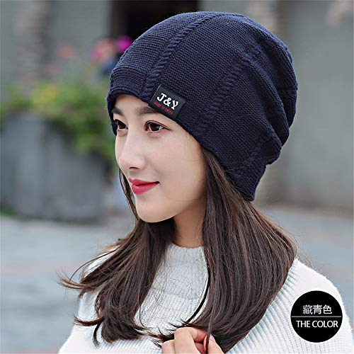 (Gxinyanlong Women's Autumn Winter Knitted Thermal Insulation Plus Wool hat, Women's Leisure Outdoor Thickening Cap,Tibetan Green Color)