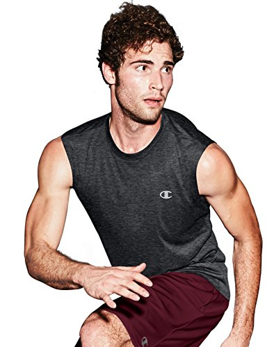 Champion Men's Double Dry Heather Muscle Tee, Black Heather, XX-Large