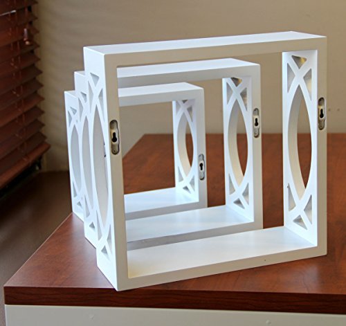 brightmaison Floating Cube Wall Shelves - 3 Decorative Accent White Shadow Box Shelf - Home Decor for Living Room, Hallway and Bathroom - Wall Mount, Varying Sizes, Set of 3 Wood White - CHARMING DESIGN - All you need is a set of cube shelves to decorate like an interior designer, the decorative shelves go anywhere, giving you the flexibility to display anything in them, you can utilize your walls efficiently with your living room remodel. AMAZING DISPLAY - These cube shelves are great for displaying your favorite vintage collectibles, mementos, awards, trophies, photos, home plants, flowers, home décor objects and many more. BUDGET SAVER - Don't break the bank and spend over your budget to decorate a dreamy living room, these shelves are affordable and fit the bill perfectly while giving you the flexibility to add a design that will last you a lifetime. - wall-shelves, living-room-furniture, living-room - 51EGYZ GgtL -