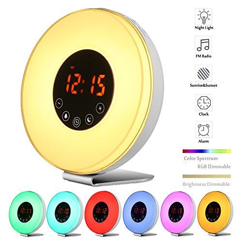 Wake Up Light Alarm Clock, Blingco Sunrise Simulator Digital Alarm Clock with FM Radio, Snooze/Sunset Function ,7 Colors Night Lights ,Nature Sounds ,Touch Control Alarm Clock Radio for Heavy Sleepers