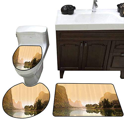 3 Piece Bath mat Set Lake House Decor Collection Famous Tourist Attractions of Guangxi China Foggy Hill Trees Reflection Panoramic Image Custom Made Rug Set Cream