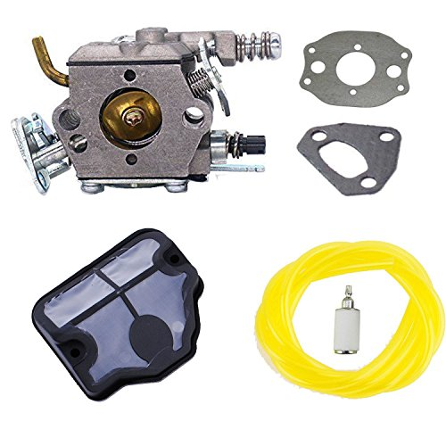 Podoy 136 carburetor for Husqvarna Chainsaw 530071987 with Air Filter Fuel Filter Fuel Line for 36 41 141 137 141 142 Chainsaw Parts Walbro WT-834 WT-657 WT-529 WT-289 WT-285 WT-239 WT-202