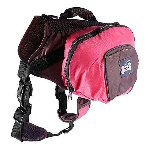 Pettom Waterproof fold able Dog Backpack Day Pack Adjustable Saddle bag Pocket Tripper Hound Bag for Pet Travel Hiking Camping Walking