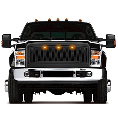 Razer Raptor Style 2008-2010 Ford Super Duty F250+F350+F450 Matte Black Mesh Grille Shell w/Amber 3x LED, Complete Factory Replacement Grille Shell