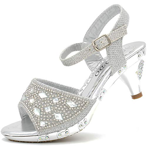 CAKI Girls Dress Sandals for Kids Toddler Heels Shoes Glittery Shine Rhinestone Sling Back Wedding Party (2 M US Little Kids, Silver-3)]()