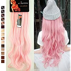 S-noilite 24 Inches(61cm) Long Curly Light Pink Full Head Clip in Hair Extensions 8 Piece 18 Clips Hairpiece Trendy Design