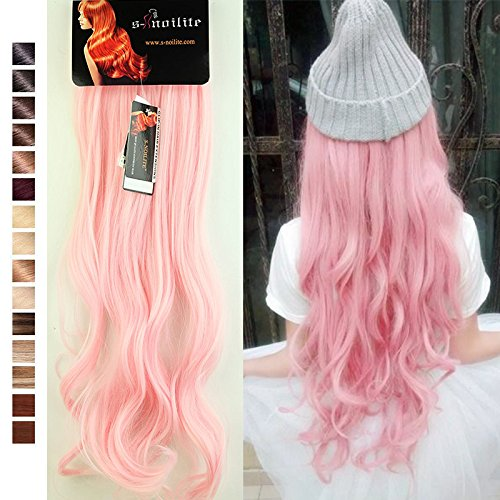 S-noilite 24 Inches(61cm) Long Curly Light Pink Full Head Clip in Hair Extensions 8 Piece 18 Clips Hairpiece Trendy Design - Curly Pink Hair