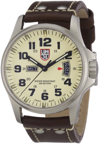 - Luminox Field 42mm 1827 Ivory Dial Brown Leather Mens Watch