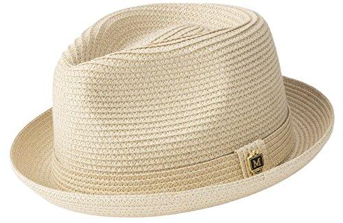 MONTIQUE Braided Toyo Short Snap Brim Teardrop Dent Pinch Hat H56 (Medium, Beige)