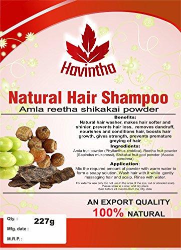 Natural Hair Shampoo for Hair 8 oz, AMLA REETHA SHIKAKAI POWDER (Phyllanthus emblica,Sapindus mukorossi,Acacia concinna),Product of Havintha, 227g (Amla Shikakai Powder)