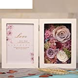 European live roses picture frame Eternal flower gift box Birthday gift-A