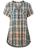 Yellow Shirt Women, Ladies Check Button up Tops Plaid Print Short Sleeve Tee Cute Casual Loose Fitting A Line Soft Comfy Tunic Blouses for Leggings Yellow XL