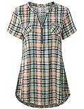 Finice Women's Zip V Neck Short Sleeve Casual Plaid Shirt Yellow S