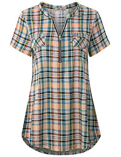 Finice Women's Zip V Neck Short Sleeve Casual Plaid Shirt Yellow L ()
