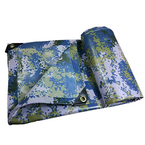 JLDNC Heavy Duty Waterproof Camouflage Tarp, Camouflage Tarpaulin Cover with Grommets,Multi-Purpose PVC Rubberized Tarpaulin/Waterproof Fireproof Sunscreen,15x18Ft/5x6m