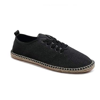 ZHRUI Hombres Zapatos de Lona Transpirable Mocasines resbalón en sólido cáñamo Abrigo Alpargatas para Hombre (