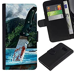 Muy lejos - la tarjeta de Crédito Slots PU Funda de cuero Monedero caso cubierta de piel Para Samsung Galaxy S6