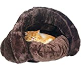 KOMIA Plush Cover for Cats Winter Warm Cave Indoor (Brown)