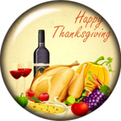button Thanksgiving Turkey Pumpkin Cabochon