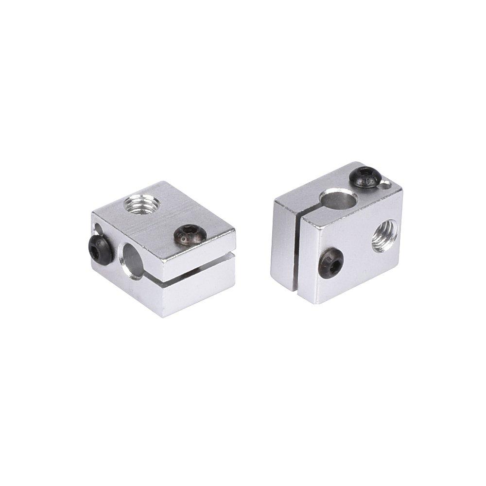 KINGPRINT 5Pcs 3D V6 Aluminum Heat Block for M6 Threaded 3D Printer Extruder