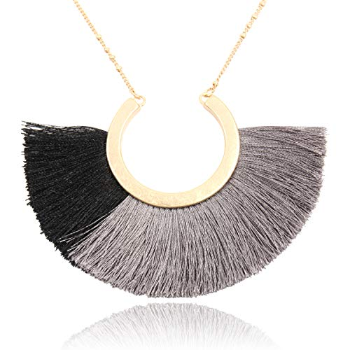 RIAH FASHION Bohemian Fringe Tassel Pendant Statement Necklace - Silky Strand Semi Circle Thread Fan Charm Long Chain (Half Moon - Multi Black)