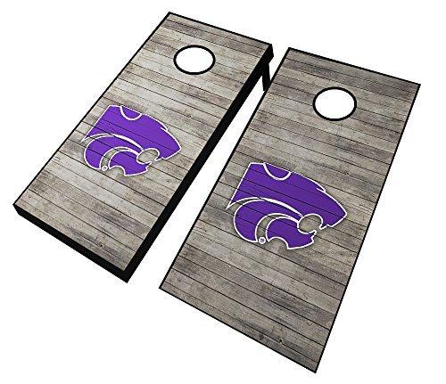 AJJ Cornhole NCAA Kansas State Wildcats Distressed Cornhole Set with Bags 24 x 48 紫の [並行輸入品]
