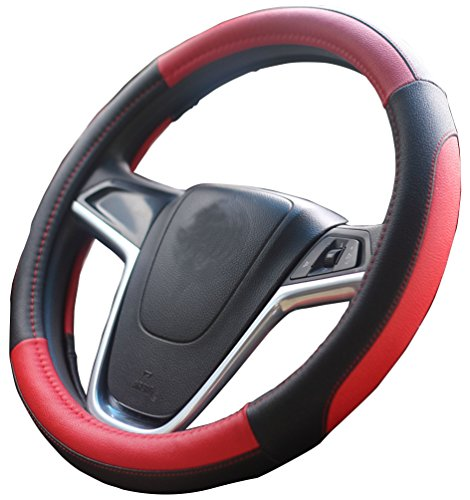 - Mayco Bell Car Steering Wheel Cover 15 inch Comfort Durability Safety (Black Red)