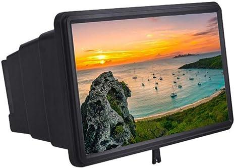 FGDQTIA 12 Pantalla Amplificador Smartphone 3D Aumentador Vaso Pantalla Ampliadora HD Película Vídeo Lupa Proyector con Plegable Soporte para Smartphone, Black: Amazon.es: Deportes y aire libre